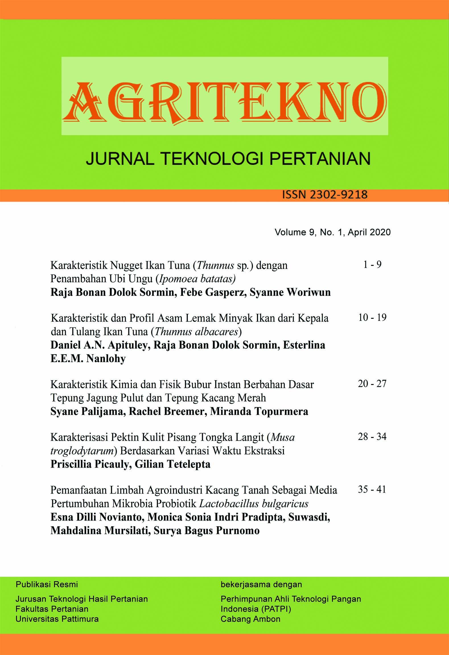 Karakteristik Nugget Ikan Tuna Thunnus Sp Dengan Penambahan Ubi Ungu Ipomoea Batatas Agritekno Jurnal Teknologi Pertanian